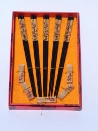 Čínské jídelní hůlky, sada 5 kusů s podložkami