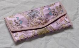 Peněženka fialovo růžová s vyšíváním